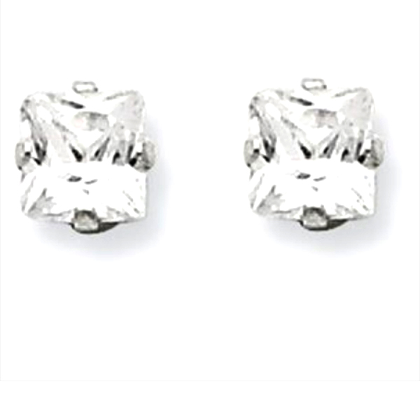 Sterling Silver Princes Cut Square CZ 7*7 MM Post Earrings Snap Closure Gift Box