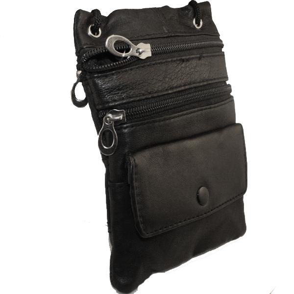 Genuine Black Lambskin Leather Travel Shoulder Bag