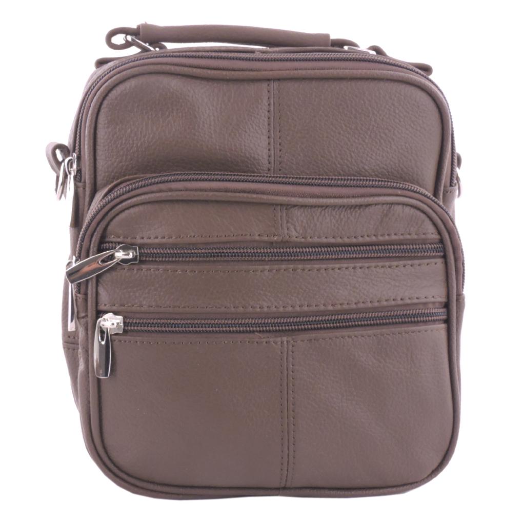 Genuine Leather Light Brown Travel Unisex Organizer Handbag