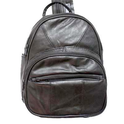Lambskin Round Zip-Top Backpack Organizer Pockets
