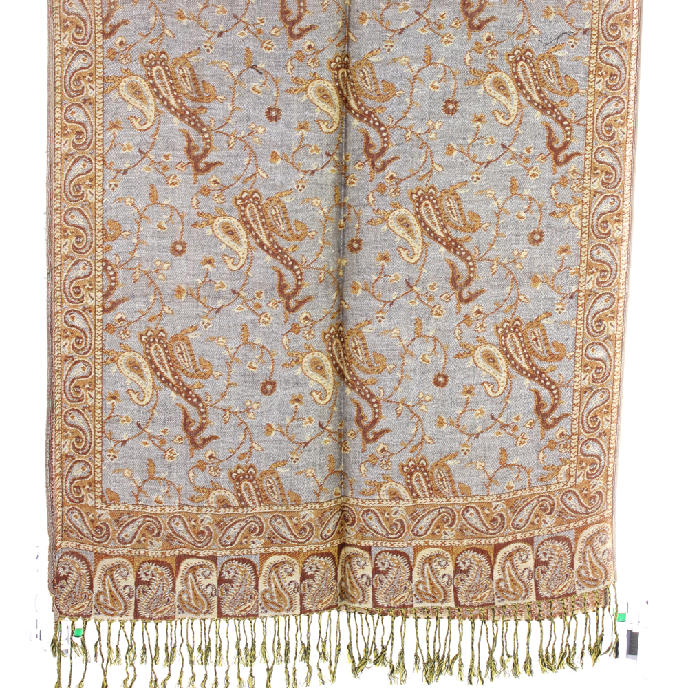 Silver Fever Pashmina - Jacquard Paisley Shawl - Stylish Scarf - Double Sided Wrap Grey Neutural