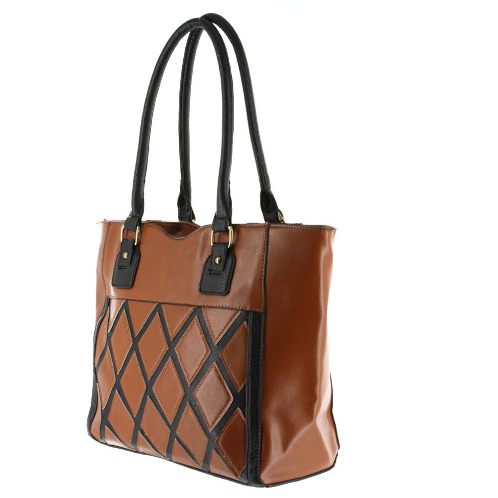 Argile Applique Patchwork Two Tone Large Shoulder Tote Handbag Camel Black