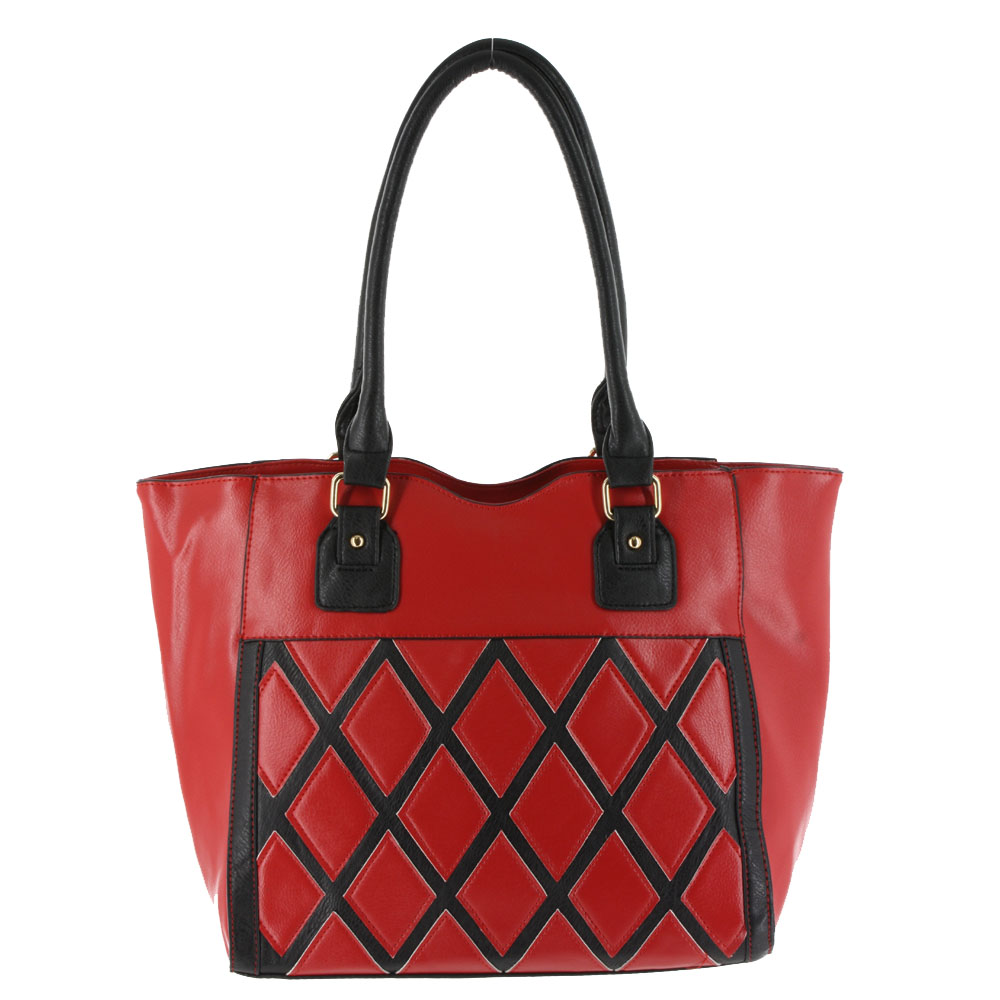 Argile Applique Patchwork Two Tone Large Shoulder Tote Handbag Red Black