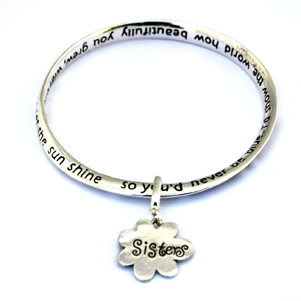 Gift for Sister Sisters are Flowers Poem Flower Charm Bangle Bracelet