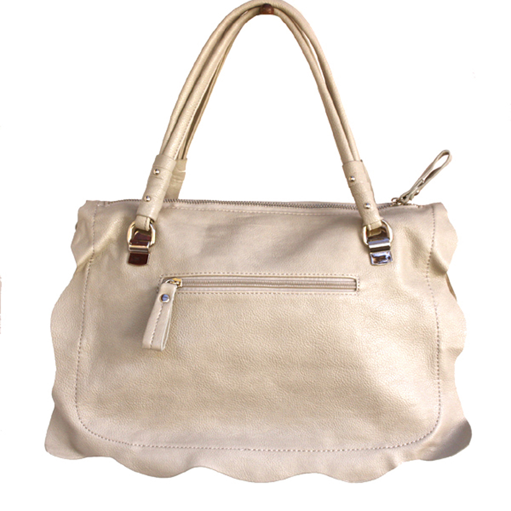 Medium Satchel With Front Turnlock Pocket Silver Studded Frill Wave Detail Beige
