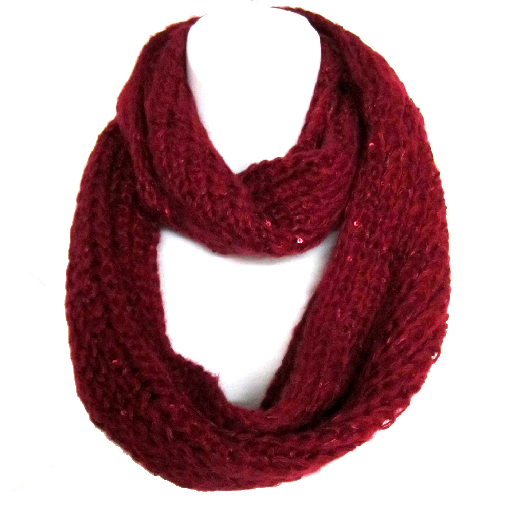 Braided Sequenced Detail Soft Woven Infinity Loop Figure Eight Scarf Burgundy