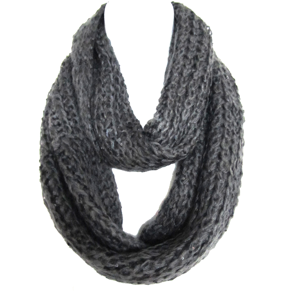 Braided Sequenced Detail Soft Woven Infinity Loop Figure Eight Scarf Gray