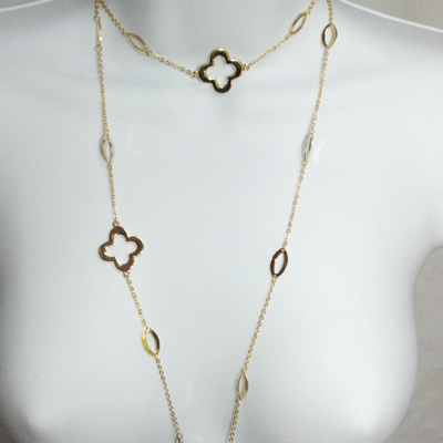 """Good Luck Clover Leaf Gold Plated Necklace 40"""""""