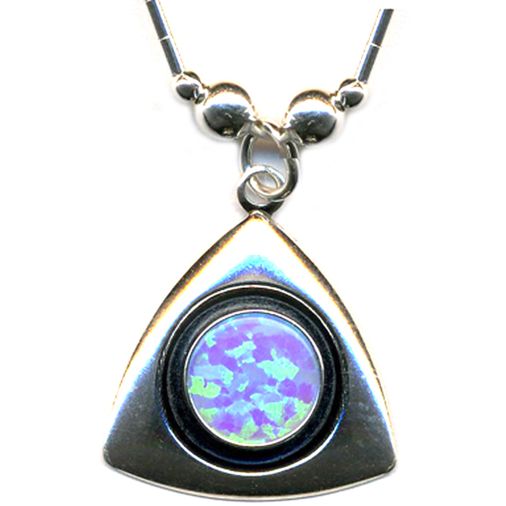 LARGE BLUE OPAL Silver 925 Triangle Necklace