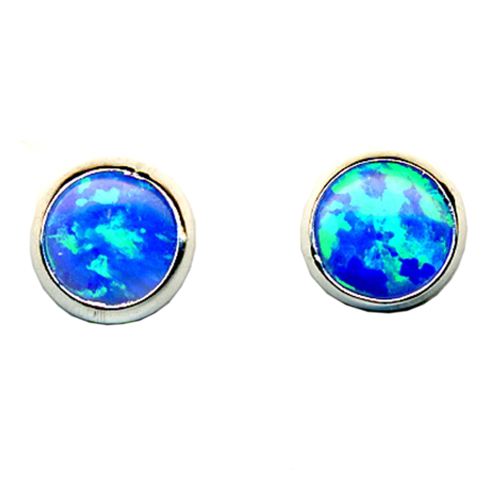 5 mm Round Shaped Dark Blue Opal Stone Sterling Silver .925 Stud Earrings
