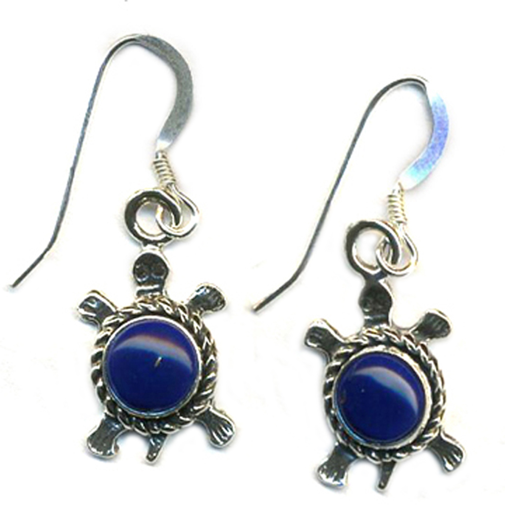 Dangle Turtle Earrings Genuine Lapis Lasuli Stone Sterling Silver