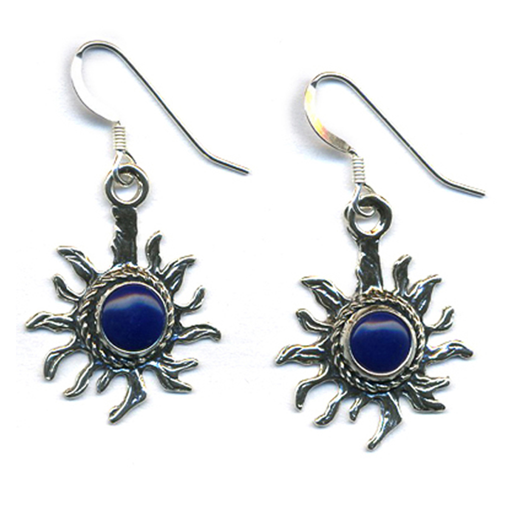 Handcrafted Sterling Silver Sun Earrings Lapis Lasuli