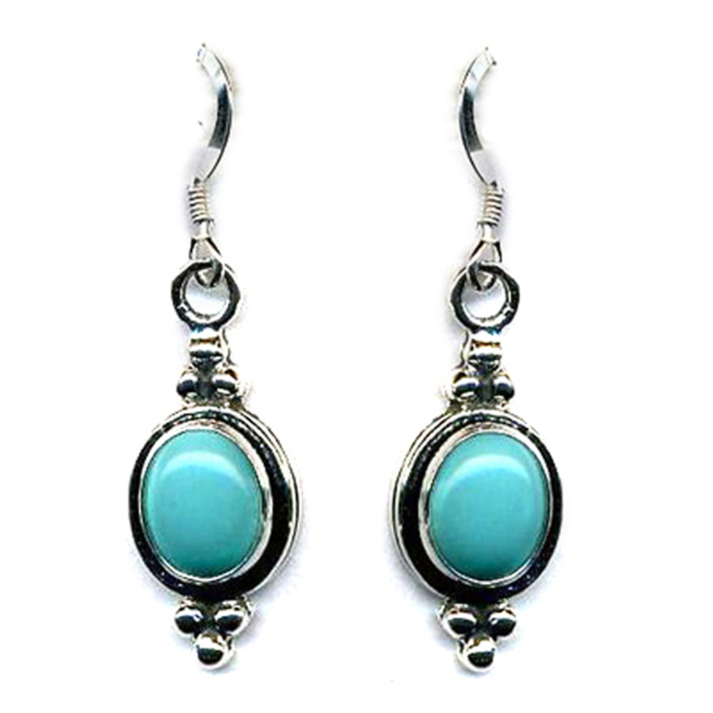 Genuine Turquoise Sterling Silver Dangle Earrings Beaded