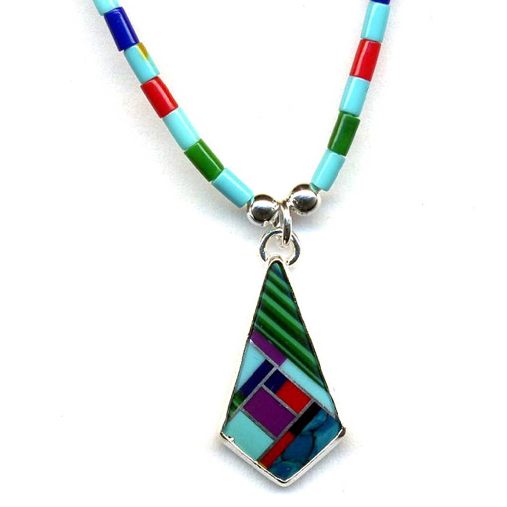 Large Navajo Multicolor Sterling Silver Necklace