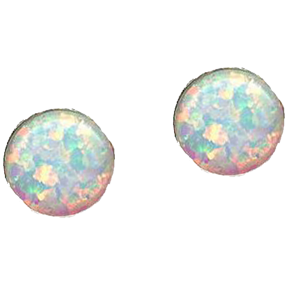 OPAL WHITE Earrings 6mm Round S SILVER 925