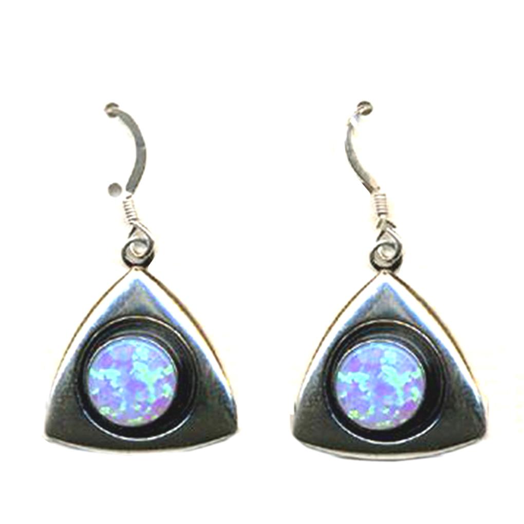 Blue Opal Silver 925 Dangle Triangle Shape Earrings